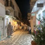 Paros tourist area at night