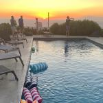Mykonos pool at sunset