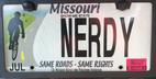License plate reflecting my long history of bike riding, and my nerdiness